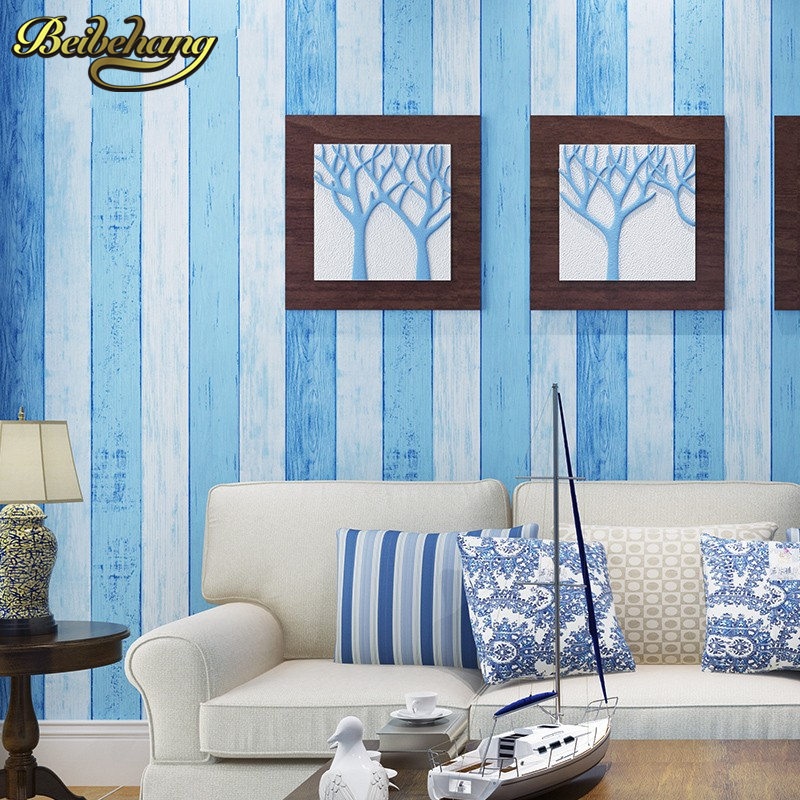 beibehang papel de parede 3D Mediterranean Wood stripes wallpaper for wall striped flock wall paper roll bedroom living room beibehang shop for living room bedroom mediterranean wallpaper stripes wallpaper minimalist vertical stripes flocked wallpaper