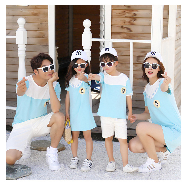 HTB1xaHrcf1H3KVjSZFHq6zKppXaq - Summer Clothes Family Matching Outfits Dad Son Short Sleeve T-Shirt Mother Daughter Dresses Cute Blue White Dress Clothing