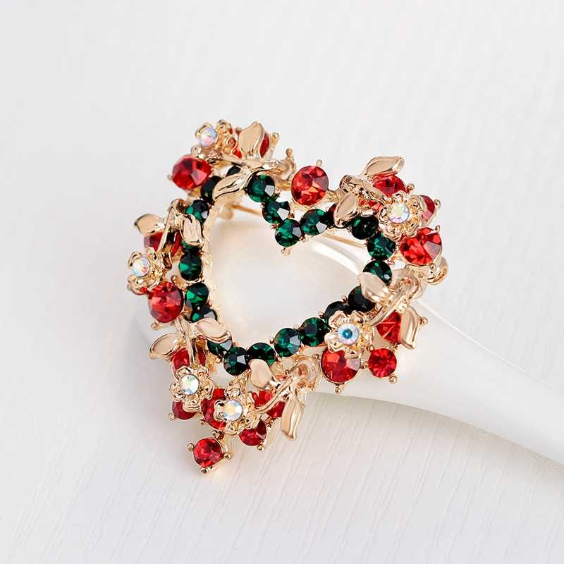 Hot Sale Natal Bros Pins Fashion Berbentuk Hati Kristal Bunga Bros Untuk Wanita Perhiasan Grosir