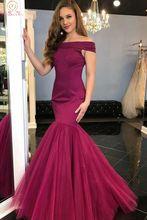 Burgundy Boat Neck Evening Dresses 2019 Fashionable Off Shoulder Mermaid Floor Length Satin Stunning Tulle Dress hem Formal Gown