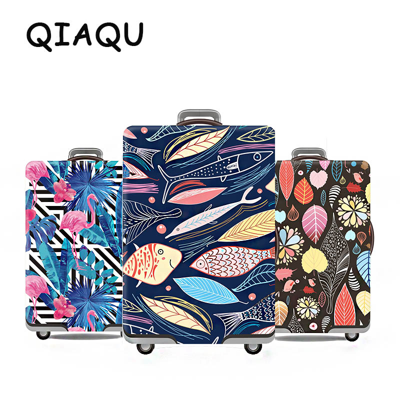 QIAQU Hot Fashion Travel On Road Luggage Cover Protective Suitcase Cover Trolley Case Travel Lugagge Tag Cover For 19 To 32inch