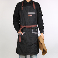 WEEYI Kitchen Apron Men Women Unisex Black Working Denim Apron Chef Restaurant Cooking Aprons For Bartender Waiter Cafe Shop BBQ