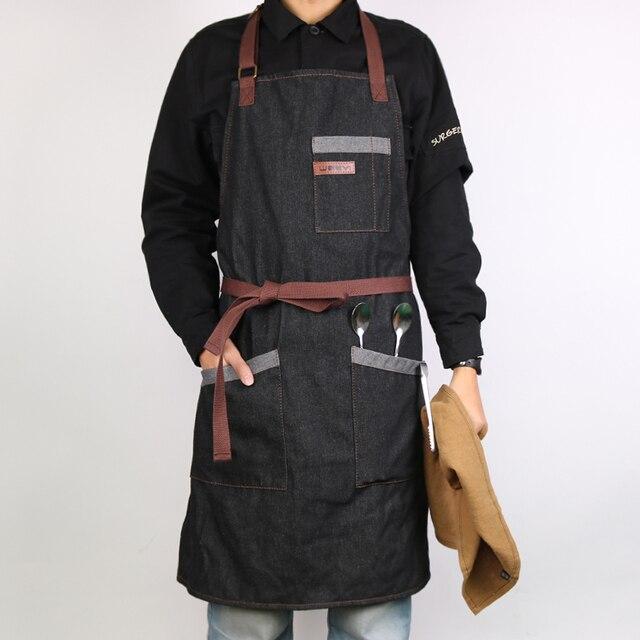 WEEYI кухня фартук для мужчин женщин унисекс черный рабочих джинсовый фартук шеф-повар Ресторан пособия по кулинарии фартуки для бармена официант кафе