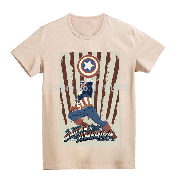 Classic action image Captain America soft 100%cotton vintage fashion Khaki  and white cool t