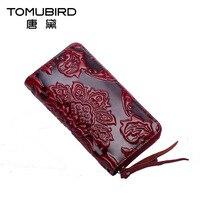 TOMUBIRD National Wind Long Wallet Female Real Cowhide Hand Bag Zipper Bag Phone Female Tide Restoring
