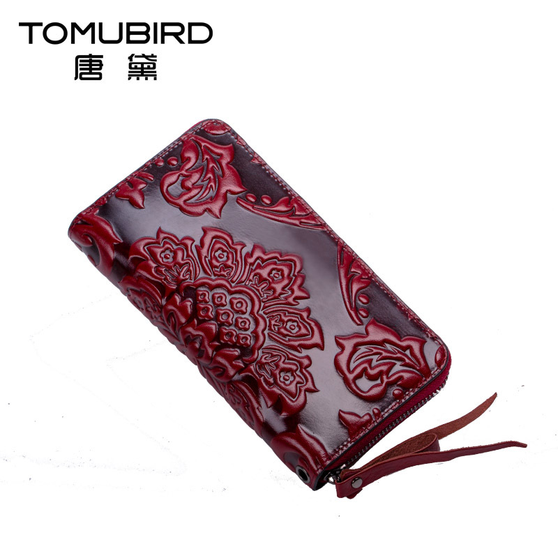 Women wallets leather clutch Bag vintage embossed design large capacity Female purse genuine leather women with cards pockets