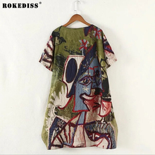 ROKEDISS 2017 women loosen knee length brief  cotton linen dress extra large european fashion pocket causal elega dresses woman