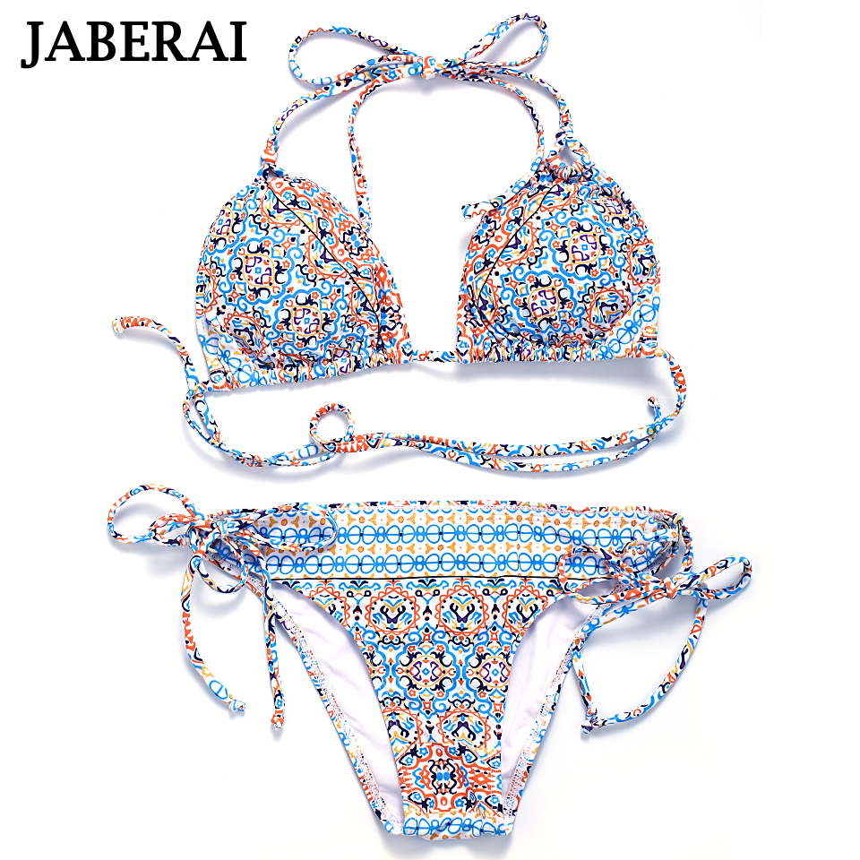 Jaberai Women Swimwear 2017 Brazilian Bikini Set Strappy Halter Swimsuit Colorful Printed Bathing Suit Padded Beachwear 2ZH010 pink solid color swimwear high neck halter bathing suit brazilian style beachwear xs xl plus size swimsuit strappy bikini set