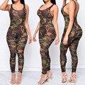 Mulheres Jumpsuit 2016 Sexy Macacão de Camuflagem Do Exército Calças Bodysuit Bodycon O-long neck Mulheres Em Geral Macacão Feminino C2333