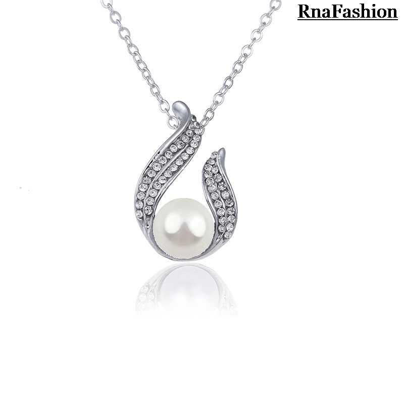New 2014 Nhà Máy Bán hàng trực tiếp Áo Pha Lê Xám Nâu Trắng Ngọc Trai Mặt Dây Chuyền Vòng Cổ Nickel Miễn Phí Nữ Necklace