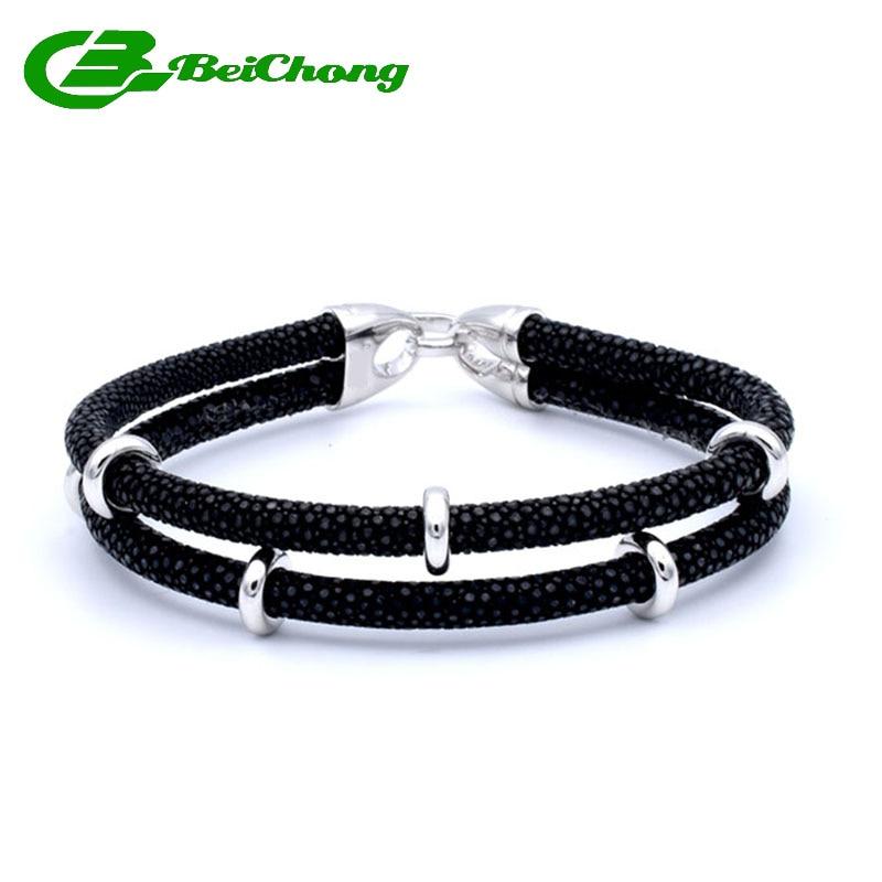 Mode Deux Couche En Cuir Charme Argent Bracelet en acier Inoxydable Hommes De Luxe Thaïlande En Cuir Galuchat Véritable Bracelets Bracelet