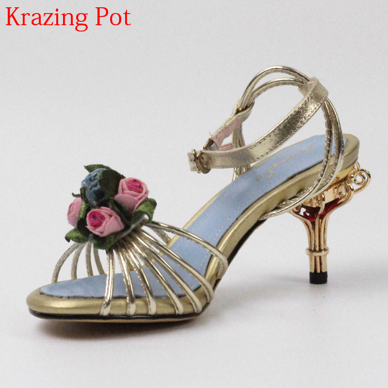 2018 Superstar Genuine Leather Bird Cages High Heels Peep Toe Flowers Ankle Straps Party Women Sandals Brand Summer Shoes L35 2017 superstar bird cage brand flowers