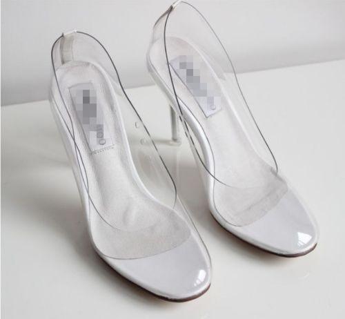 4356cc5e5d New Hot Movie Princess Cinderella Women high-heeled shoes Clear Glass  Slipper Summer high heel Shoes party wedding Dress Cosplay