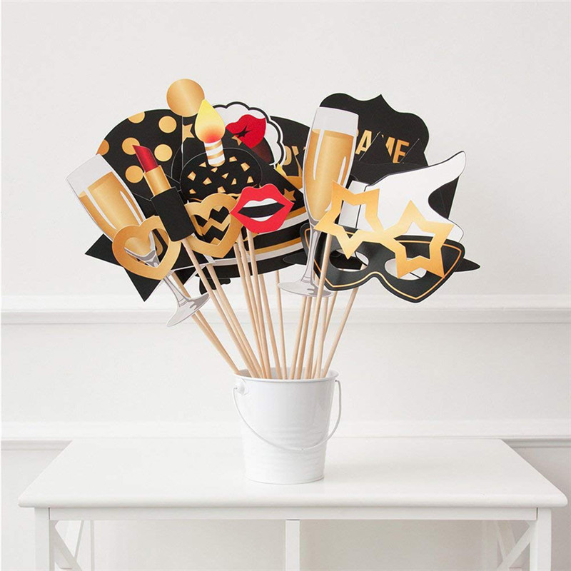 28pcs Set 50th Birthday Photo Booth Props Black Gold Party Decorations Supplies High Quality In Photobooth From Home
