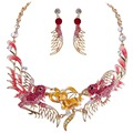 Bella Fashion Drip Gold Tone Plated Double Birds Necklace Set Austrian Crystal Animal Pink Choker Necklace Jewelry Set For Women