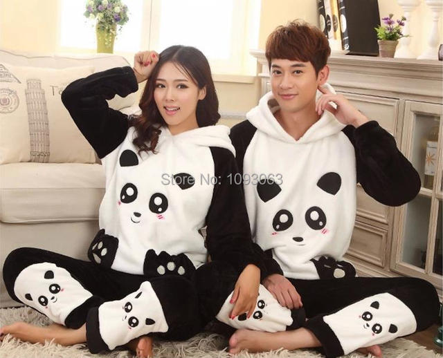 Dicken Flanell Kaschmir Bademantel Pyjamas Cute Panda Paar ...