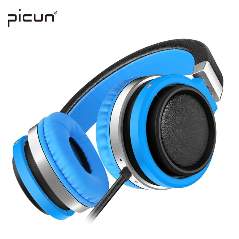 Picun C1 Lightweight Foldable Headphones with Microphone and Volume Control Headsets for iPhone Android Smartphones PC