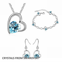 2015 HOT Sale Style Heart Crystal Necklace Earrings Bracelet Jewelry Set Crystals From Swarovski Christmas Gift