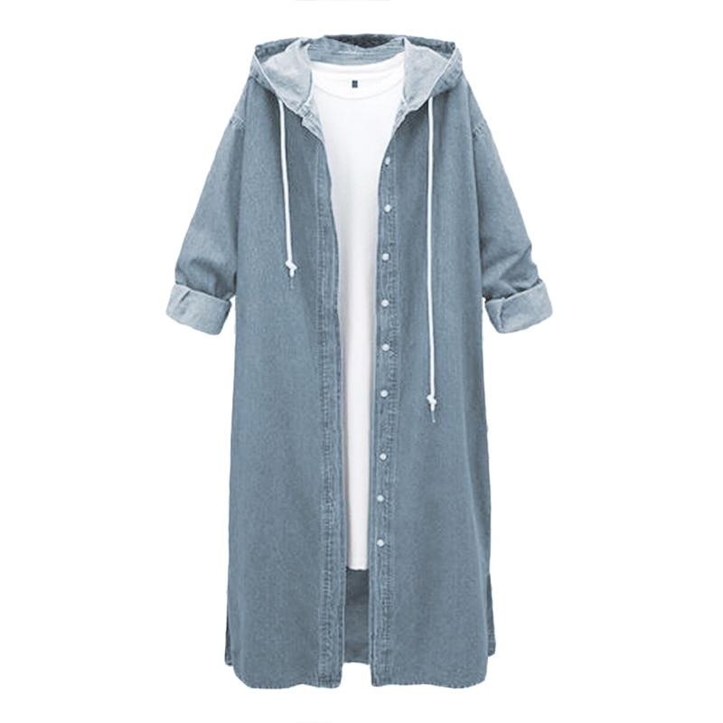 Women's Windbreaker Women's Coat Plus Size Denim Coat Hooded Split Maxi Long Sleeve Denim Coat