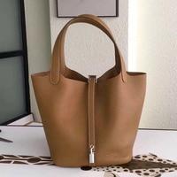 Top quality leather handbag luxury women togo genuine leather Picotin Lock bucket bags designer purse famous brand tote bag