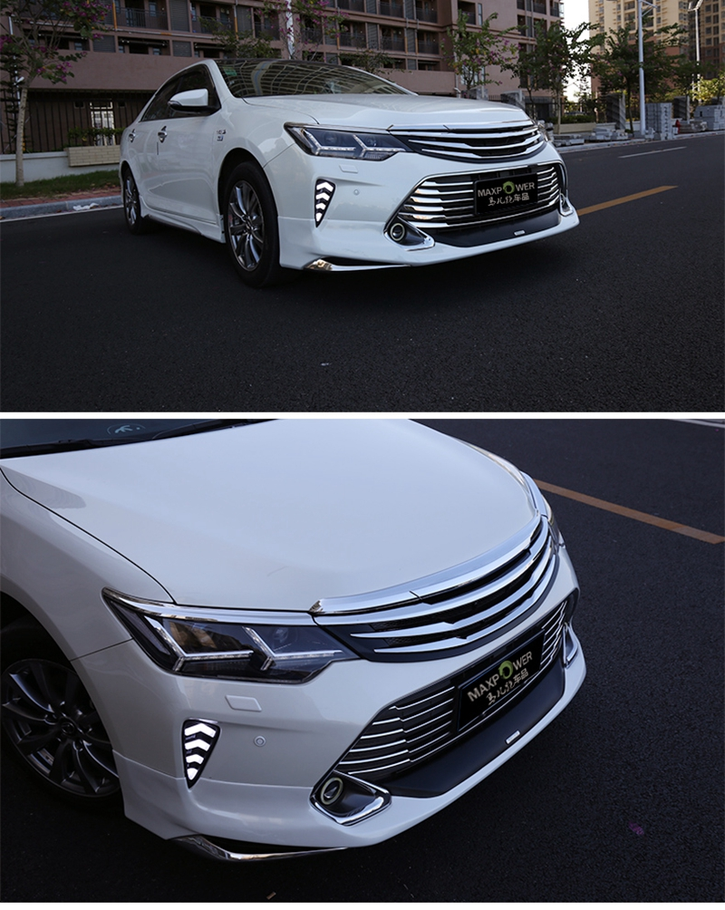 MONTFORD Auto Accessories For Toyota Camry 2015 2016 Car ABS Chrome Grille Modify Front Grilles Shiny Front Center Mesh Grills high quality for toyota highlander 2015 2016 car cover bumper engine abs chrome trims front grid grill grille frame edge 1pcs