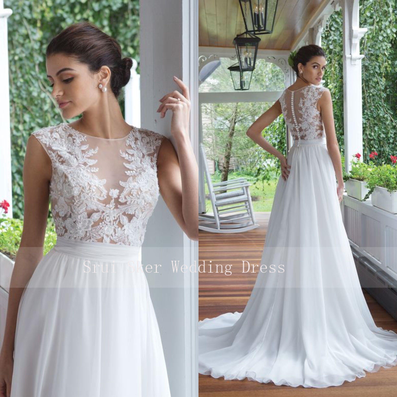 Illusion Bodice White Chiffon Wedding Dreses O-Neck Applqiues Sleeveless Bridal Gowns Cusotm Made 2019
