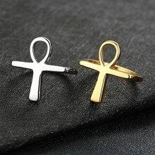 Homem simples ankh cruz anéis ouro e prata tom de cor aço inoxidável oração religiosa jóias anillos masculinos