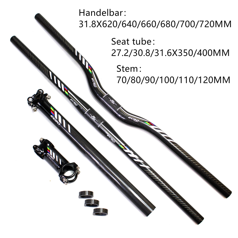 EC90 MTB Carbon Handlebar Bicycle Parts Handlenar + Saetpost + Stem + = LOT Set Handlebar Tube Seat შემცირება გადაადგილება