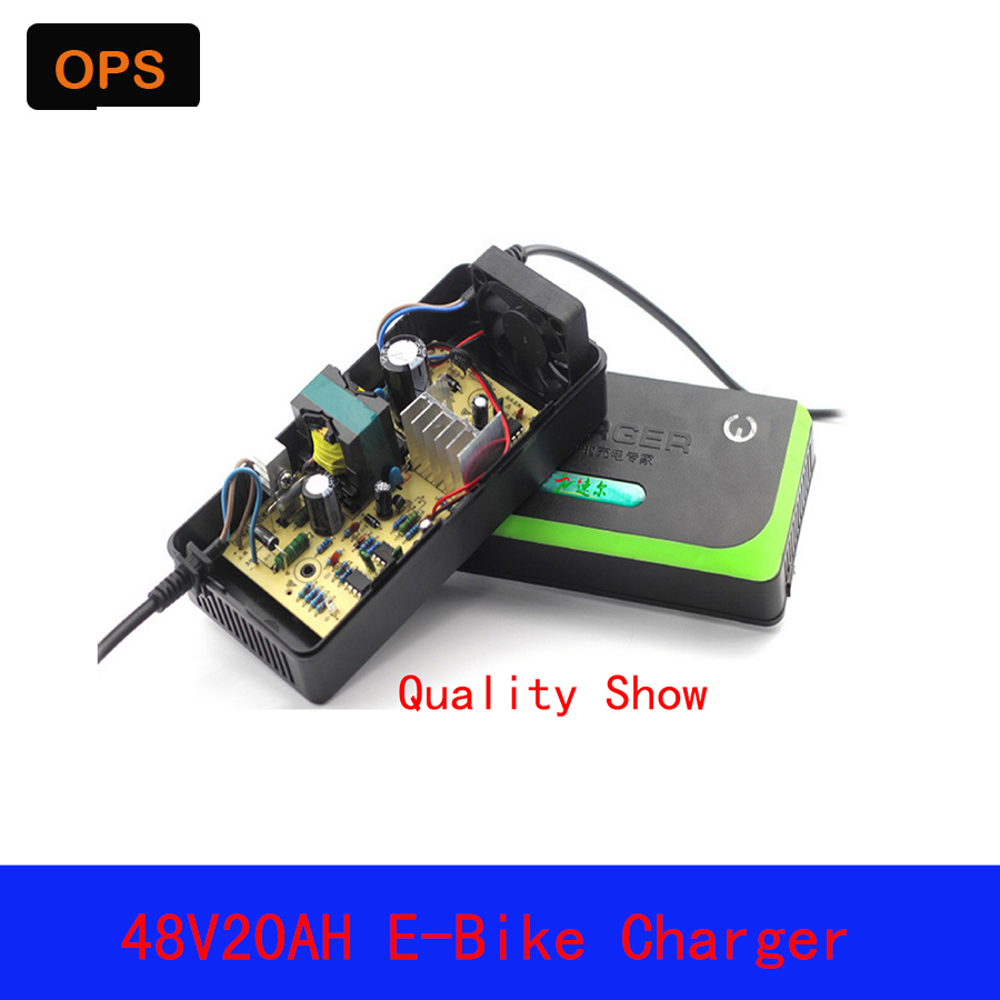 OPS Lead Acid Deepcycle Battery Portable Charger 48V 20AH For Electric Bike Bicyle Scooters DC100 240V Output 58V 3A Volt in Chargers from Consumer Electronics