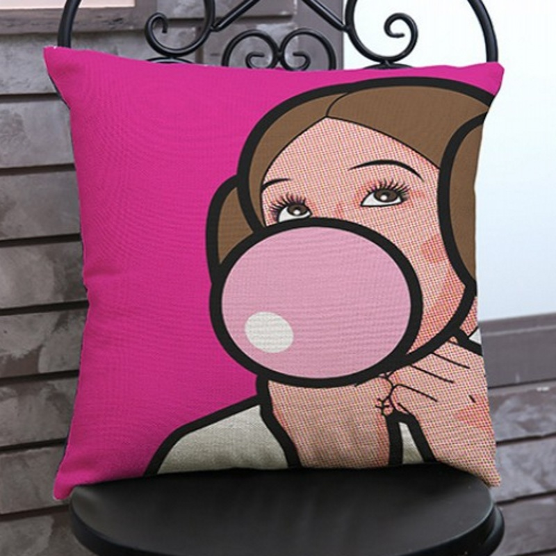 Comic Pink Color Princess Leia Chew Gum Snow white Champagne POP Art Decorative Car Pillow Cases Home Decoration Cushion Covers