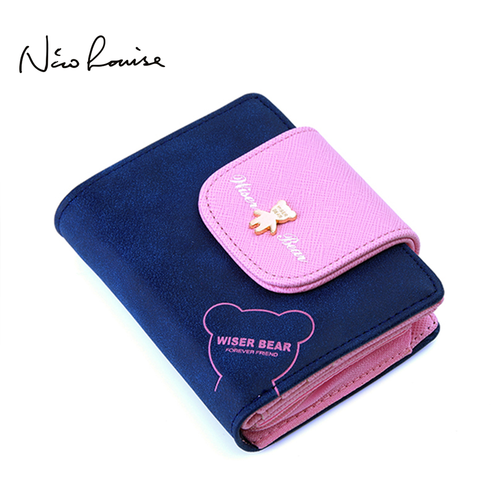 2018 Brand New Lovely Bear Wallet Female Leather Small Change Clasp Purse Money Coin Card Holder Carteras Girl wallets Portfolio fashion girl change clasp purse money coin purse portable multifunction long female clutch travel wallet portefeuille femme cuir