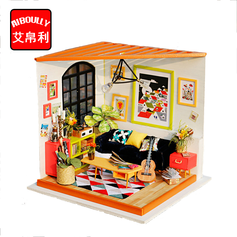3D Puzzle DIY Handmade Furniture Miniature Sofa Sets Kawaii Sitting Room Living Room Doll Table toys kids girls