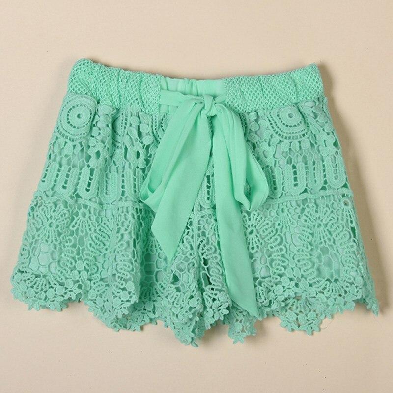 2019 New Shorts Feminino Women Sexy Solid Lace Crochet Elastic Waist Shorts Casual Bow Hollow Out Beachwear Summer Shorts