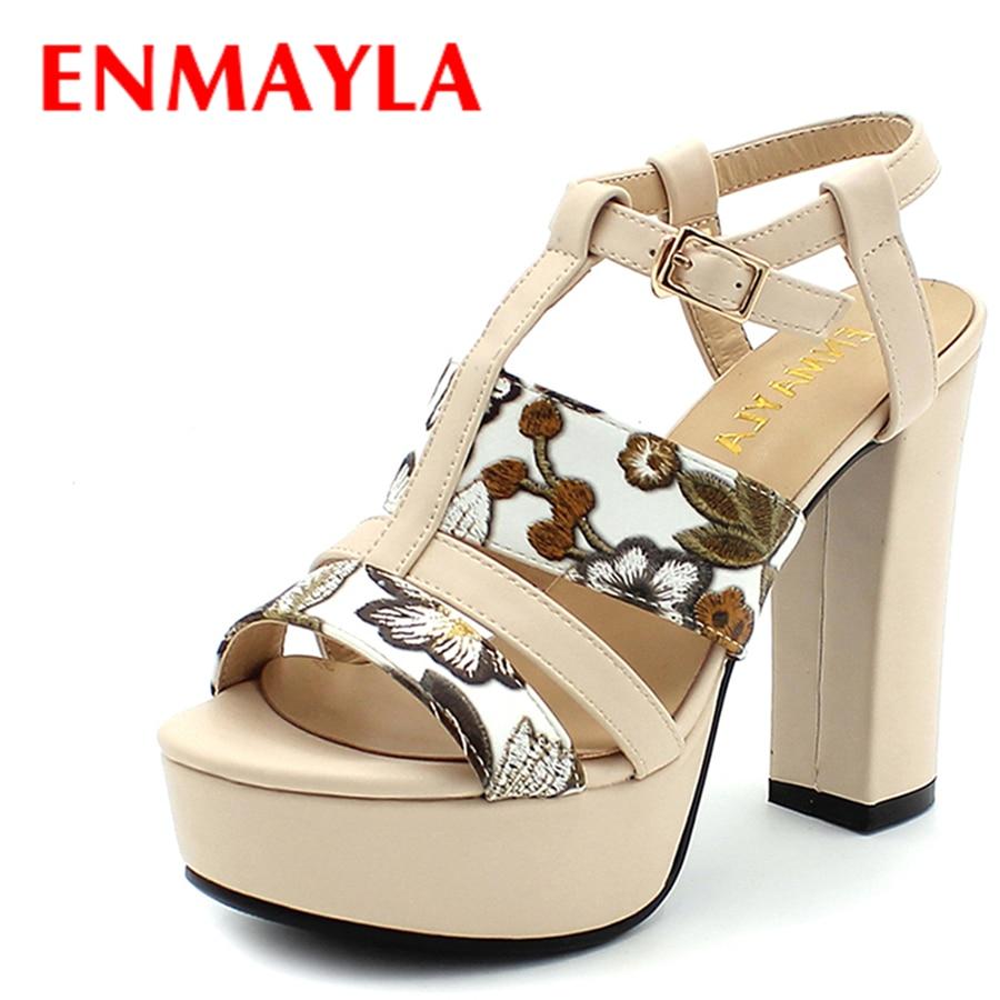 ENMAYLA Womens Floral Lemon Yellow High Heels Buckle Strap Paltform Gladiator Sandals Women Chunky Heels Casual Shoes Women