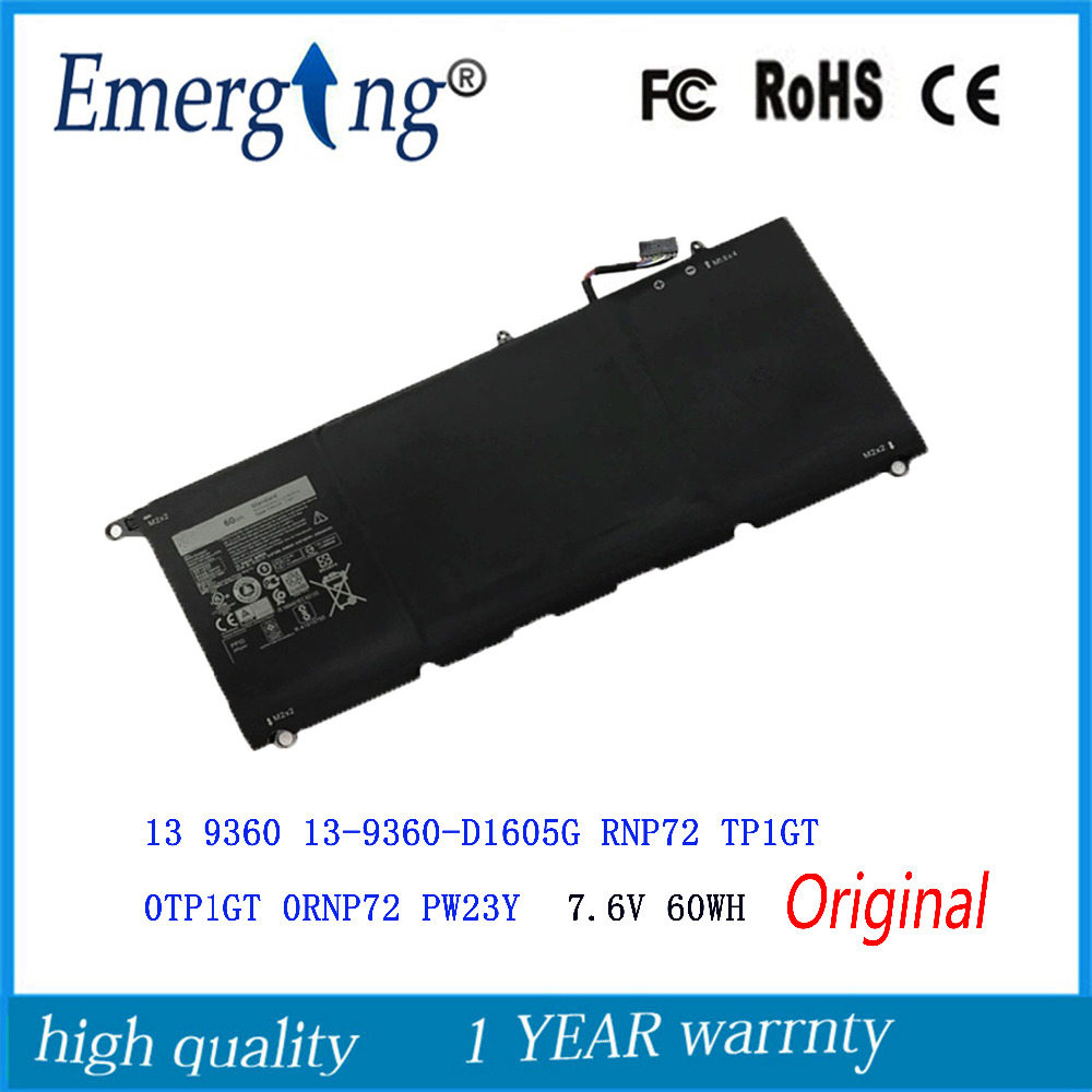 7.6V 60Wh New  Original   Laptop Battery For DELL  XPS 13 9360 RNP72 TP1GT PW23Y