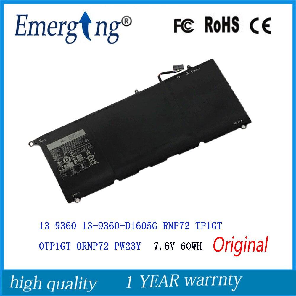 7.6V 60Wh New  Original   Laptop Battery for DELL  XPS 13 9360 RNP72 TP1GT PW23Y
