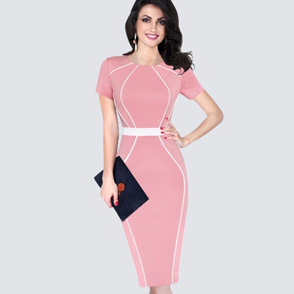 Summer Elegant Slim Tunic Colorblock Contrast Patchwork Dress Women Casual Work Office Business Bodycon Pencil Dress