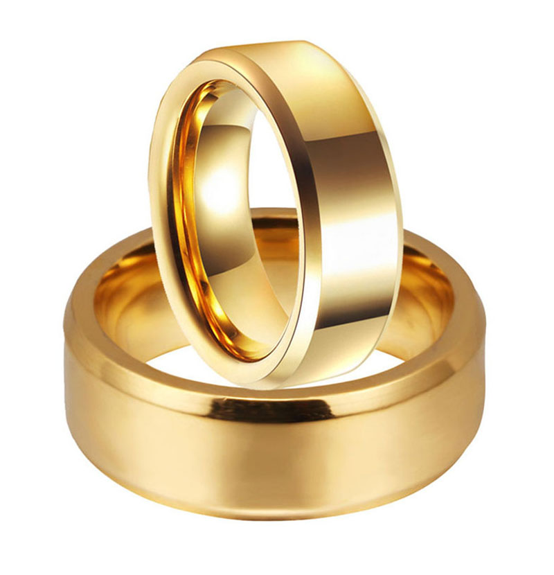 Simple Couple Wedding Rings Pair Gold Filled Couple Rings Stainless Steel Jewelry Couple Ring Set 6 8mm Double Oblique Wedding Bands Aliexpress