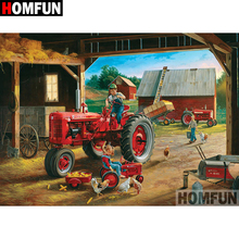 HOMFUN 5D DIY Diamond Painting Full Square/Round Drill Tractor landscape Embroidery Cross Stitch gift Home Decor Gift A08988 homfun 5d diy diamond painting full square round drill tractor scenery embroidery cross stitch gift home decor gift a09181