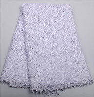 High Quality Nigerian Wedding African Lace Fabric Guipure Cord Lace Fabric For Wedding Party In WHITE