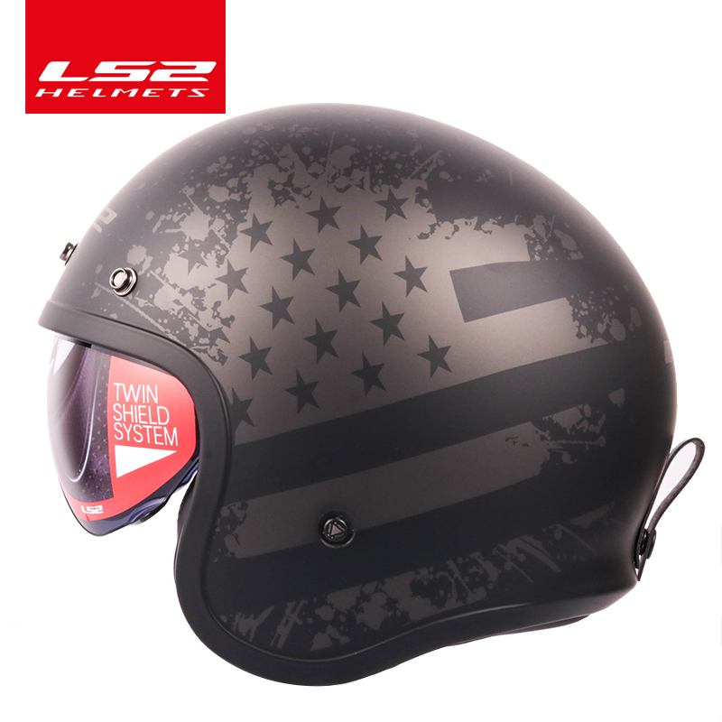 цена на LS2 OF599 helmet Spitfire motorcycle helmet jet Vintage helmet Open face retro 3/4 half helmet casco casque moto with 3 buttons