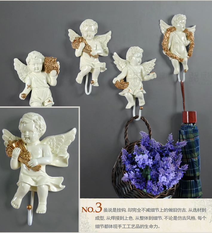 Europäischen engel haken kreative harz dekorative wohnzimmer bad ...