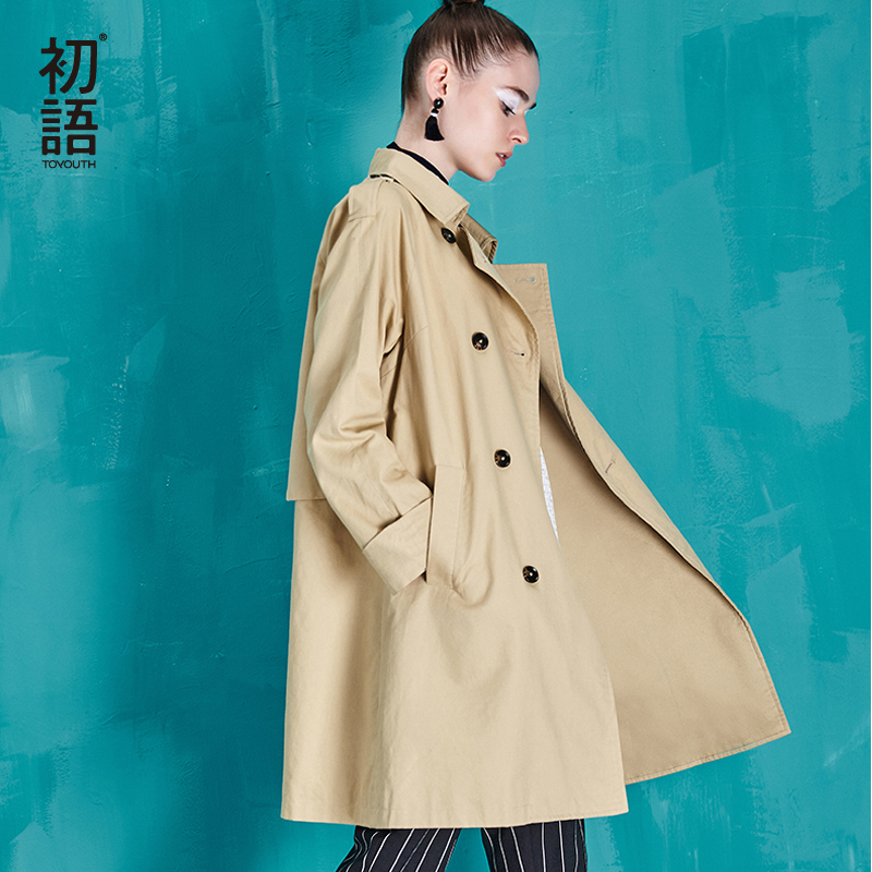 Toyouth Double-Breasted Outerwear Coats British Style Women Long   Trench   Coat Cotton Ladies Casual Solid Slim Casacos Femininos