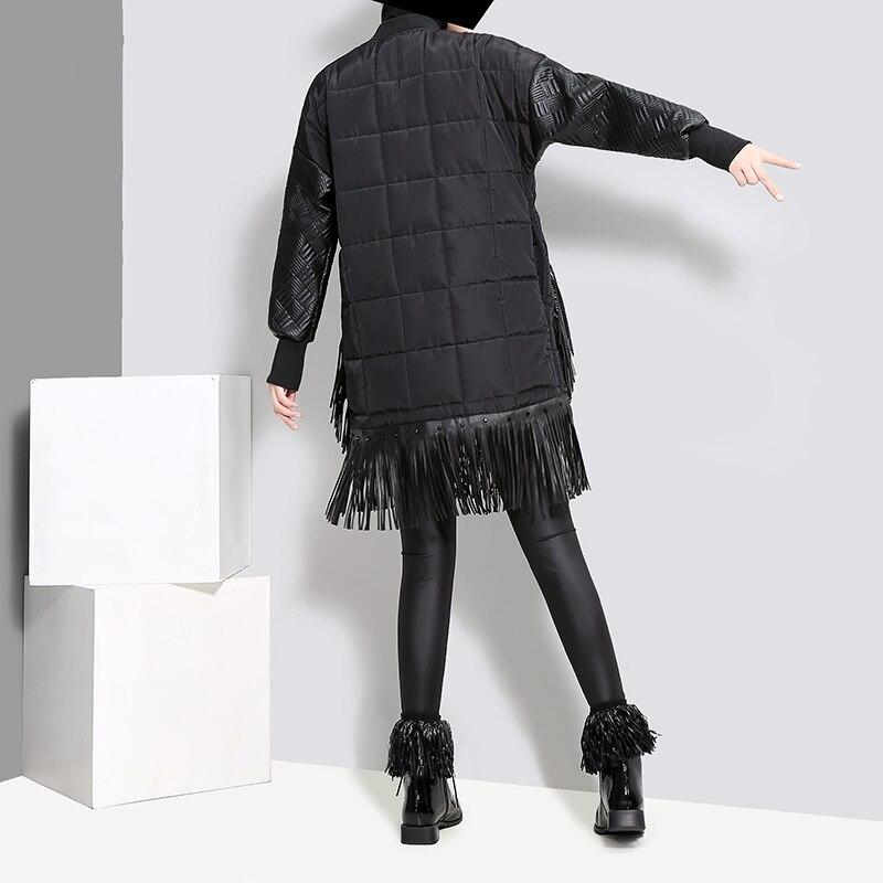 Manteau Motif Poches Grandes Parkas Survêtement Coton Gland Surdimensionné Noir 2018 Pardessus Femmes Punk D'hiver Long Chien Chaud wAt0qEnYx8