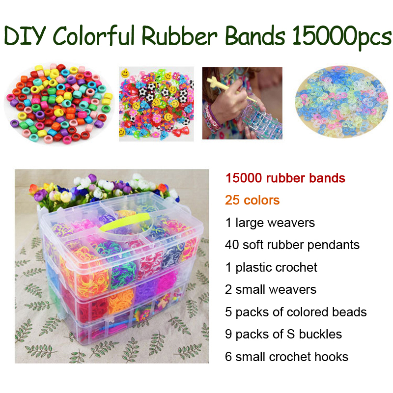 DOLLRYGA Colorful Loom Bracelet Rubber Bands Kits 15000PCS 25 Colors Art And Craft Toys With Kits Creative DIY Weaving Loom Gift