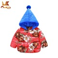 Monkids 2016 Winter New Overcoat Baby Clothes Girls Boys Parkas Hooded Children Flower Printing Clothing Down Jacket for Kids