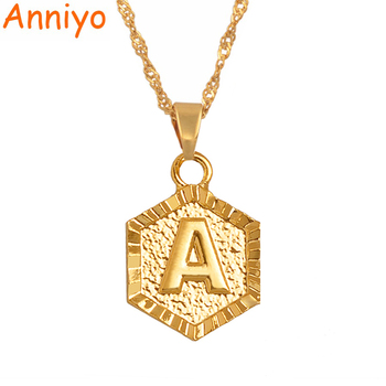 Anniyo A-Z Letters Gold Color Charm Pendant Necklaces for WomenGirls,English Initial Alphabet Jewelry Gifts #114006 earrings