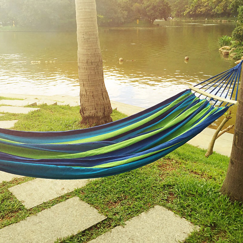 Image 2 - Canvas Camping Hammock Wooden stick Prevent Rollover Hammocks Bar Garden Camping Swing Hanging Bed Red Blue Stripe 240x80CM-in Hammocks from Furniture