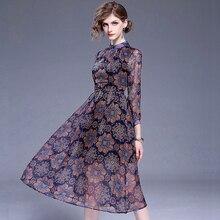 Мода Шифон Печати Dress 2017 Новый Цветочный long Dress женщины Ретро