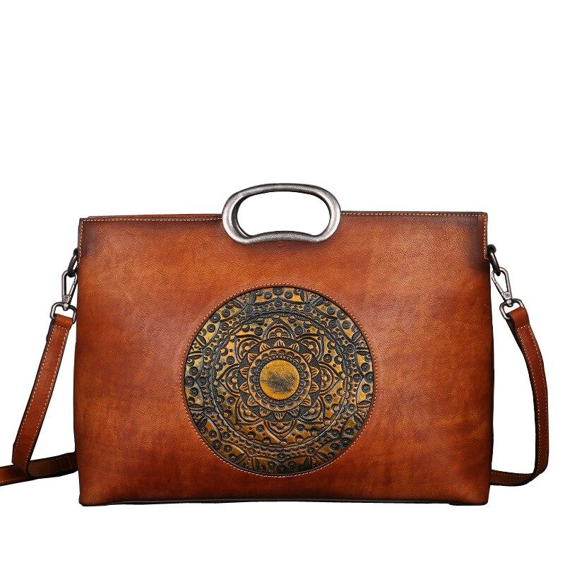 Nesitu Vintage สีเทาสีแดงสีน้ำตาล Vegetale หนังแท้กระเป๋าถือผู้หญิงสำนักงาน OL กระเป๋าถือกระเป๋าสะพาย M1158-ใน กระเป๋าหูหิ้วด้านบน จาก สัมภาระและกระเป๋า บน   1